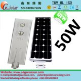 50W todo en una luz de calle solar de Integerated LED