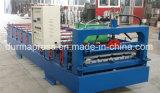 A folha do ferro ondulado que faz a máquina, rolo que dá forma à linha, etapa telha a máquina