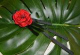 Nova flor de seda artesanal completa com fita