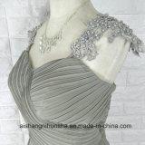 Le lacet de taille Appliques robes Chiffon de demoiselle d'honneur de chemises perlées de chapeau de longues