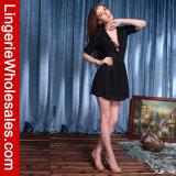 Платье обруча пляжа повязки V-Шеи черноты клуба пляжа женщин глубокое