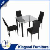De goedkope Zwarte Eettafel en de Stoelen van het Aluminium van het Glas
