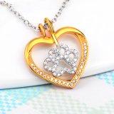 Collar pendiente del encanto de la joyería de la pata del perro de la manera del collar del corazón genuino de la plata esterlina 925 para las mujeres