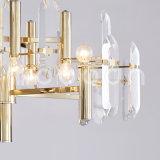 Chandelier de cristal de metal dourado simples moderno para sala de estar