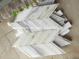 Mosaico Herringbone de piedra de mármol blanco del oro de Calacatta
