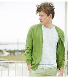 Luz - casaco de lã verde da camisola dos homens da garganta de V com tecla