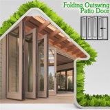 Portas de dobradura de alumínio da madeira contínua de projeto moderno