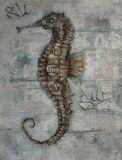 L'hippocampe sur la peinture à l'huile