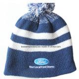 Kundenspezifische Erzeugnis-preiswerter Sport-Rochen-Winter-warme kundenspezifische Zeichen gestickte gestreifte Jacquardwebstuhl-Wollenbeanie-Schutzkappe