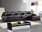 Sofa de Brown, L sofa de coin de forme, sofa de salle de séjour (985)