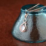 Collana Pendant della pietra del loto di colore rosa dell'oro della Rosa delle donne con la catena