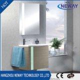 Vanité fixée au mur moderne de salle de bains d'hôtel avec le miroir