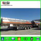 Petrolio greggio dell'acciaio inossidabile che trasporta il rimorchio del camion di autocisterna del combustibile