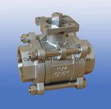 3PC schraubten/Gewinde-Kugelventil mit Befestigungsflansch ISO5211