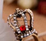 새로운 Retro 개인적인 박아 넣어진 다이아몬드 반지 크라운 모양 수정같은 형식 보석
