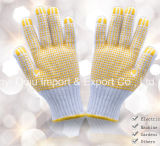 7 gants de sûreté tricotés par coton de décolorant de mesure avec des points de PVC