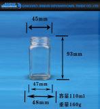 Пустой прозрачный стеклянный опарник еды с крышкой винта