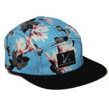 Do painel liso do costume 5 da borda da forma chapéu de couro do tampão do Snapback