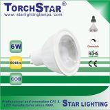 luz del punto de la MAZORCA LED del curso de la vida 6W de 3000k 20000hrs para la lámpara de la decoración
