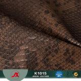 Couro artificial do PVC do material do preto da impressão do rolo do projeto da serpente para sacos, sapatas