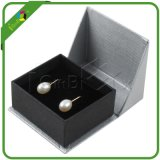 Rectángulo de regalo negro de lujo de la joyería que empaqueta con espuma