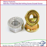 Zinc plaqué M16 Flange Nuts Hexagon Nuts with Flange Carbon Steel Flange Nuts