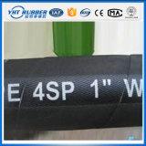 le fil d'acier 4sh s'est développé en spirales boyau en caoutchouc hydraulique noir de pétrole