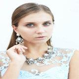 Nuevo conjunto de la joyería del pendiente del collar de la manera de la punta de la perla de las piedras del cristal del diseño