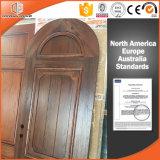 A porta interior contínua de madeira de carvalho vermelho da Redondo-Parte superior personalizou a porta de madeira articulada da porta, porta de madeira chinesa altamente elogiada
