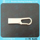 Vara feita sob encomenda do USB do gancho 8GB de Carabiner do metal da prata do logotipo (ZYF1738)
