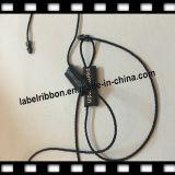 Étiquette en plastique simple noire de chaîne de caractères de tissu avec la ligne en nylon (ST035)