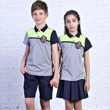 Uniforme scolastico internazionale della camicia di polo, uniforme scolastico primario su ordinazione della fabbrica, banco poco costoso dei capretti del commercio all'ingrosso