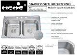 """bassin de cuisine de support de dessus de cuvette de double d'égale de l'acier inoxydable 33 """" X22 """""""