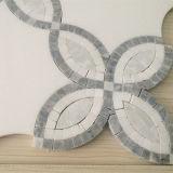 Buena apariencia azulejo blanco mosaico, piedra de mármol por chorro de agua