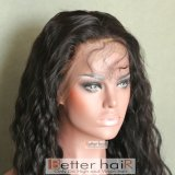 peluca llena 100% del cordón de la onda natural del pelo de la Virgen del pelo del visión 10A
