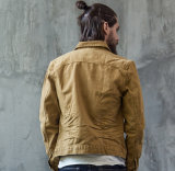 Custom Classic estilo América moda algodão curto manga comprida Lazer Khaki Men's Jeans jaqueta