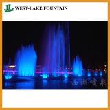 Fontana di musica del lago artificiale con illuminazione variopinta del LED