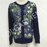 Nuevo capa empalmada del suéter de la manera de las señoras del diseño cordón/del suéter de la rebeca (SOITSW-45)