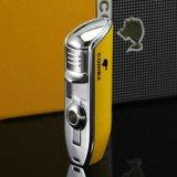 Fackel-Zigaretten-Feuerzeug des Cohiba gelbes Metall3 mit Locher (ES-EB-136)