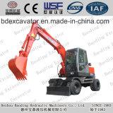 Máquinas escavadoras Digger vermelhas pequenas novas da roda da máquina com garra