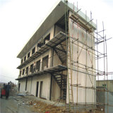 Edificio gris blanco del almacén de la estructura de acero de la pared