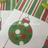 Bolso del regalo del papel de la Navidad de la impresión de Bell que cascabelea de los puntos del brillo