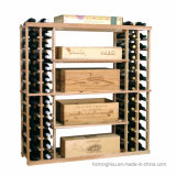 Деревянный шкаф стойки индикации бутылки хранения вина пола с колесом