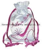 Promocional personalizado bordado gran blanco satén cordón bolsa de zapatos