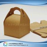 Rectángulo de empaquetado plegable ambiental del papel de Kraft para la torta del alimento (xc-fbk-038)