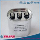 Capacitor de alumínio oval de alta tensão do condicionador de ar do funcionamento do motor de C.A. do caso Cbb65