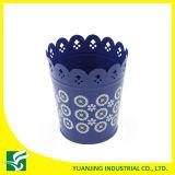 POT di fiore intagliato metallo domestico blu del giardino