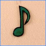 Het Borduurwerk Applique van de Lovertjes van de Nota van de Muziek van de Douane van het Deeg van de doek