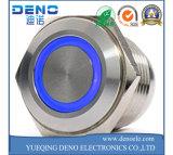 銀製の金属の青く軽い押しボタンスイッチ