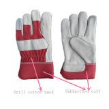 De rode Handschoen van de Palm van het Leer van de Korrel van de Koe Volledige (3101. RD)